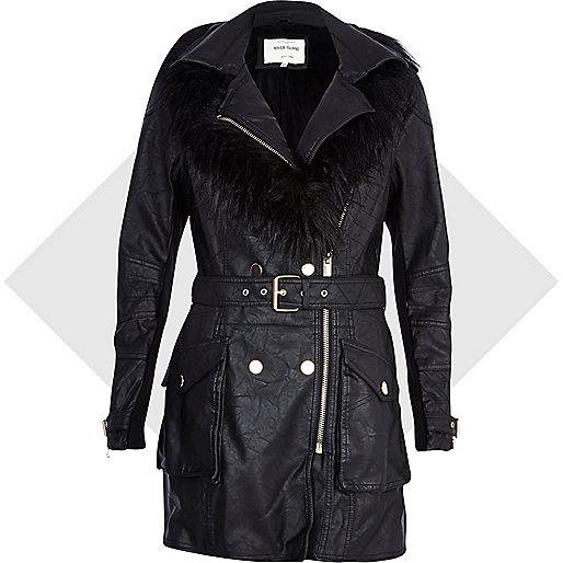 Black leather-look faux fur collar biker coat