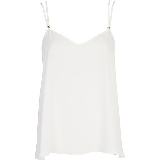 Cream V neck cami top