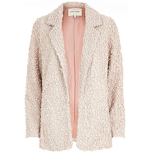 Light pink faux fur blazer