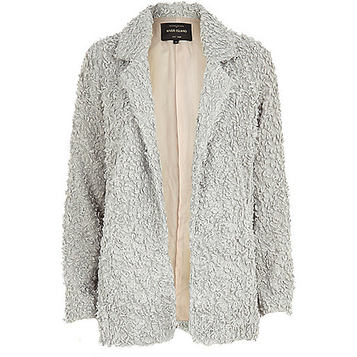 Light grey faux fur jacket