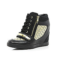 Black laser cut hidden wedge high tops
