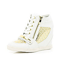 White laser cut hidden wedge high tops