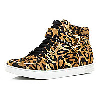 Brown leopard print pony hair high tops