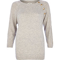 Grey popper neckline jumper