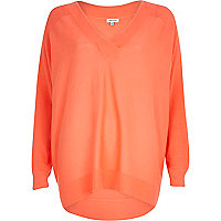 Bright coral V neck slouchy jumper