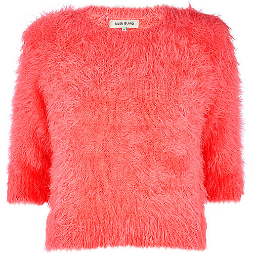 Bright pink fluffy cropped jumper