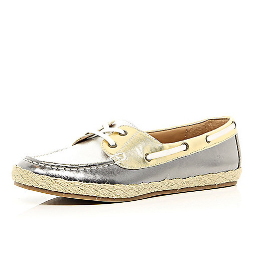Silver metallic espadrille boat shoes