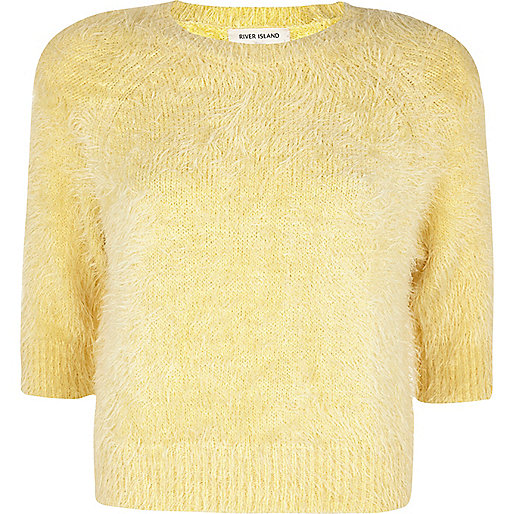 Light yellow fluffy cropped jumper