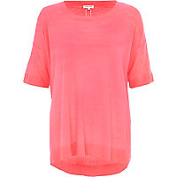 Bright pink short sleeve slouchy jumper