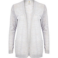 Light grey linen marl open front cardigan
