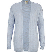 Light blue linen marl open front cardigan