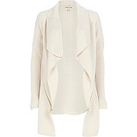 Cream zip trim waterfall cardigan