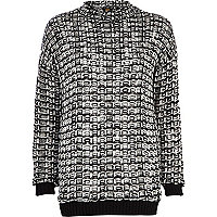 Black and white textured grid jumper