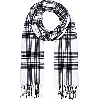 Black and white long tartan scarf