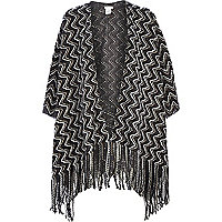 Grey zig zag tassel trim cape