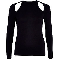 Black cut out shoulder turtle neck top