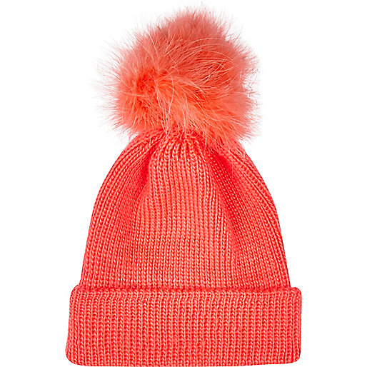 Coral Marabou feather beanie hat