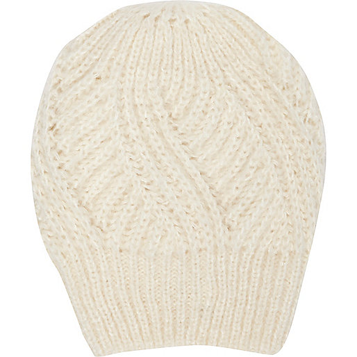 Cream loose knit beanie hat