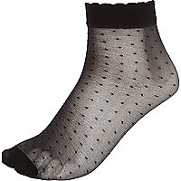 Black polka dot ankle socks