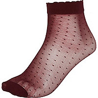 Dark red polka dot ankle socks