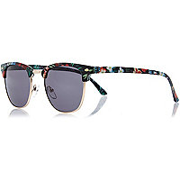 Black tropical print retro sunglasses