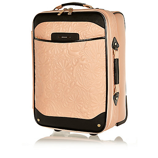 Light pink floral quilted suitcase