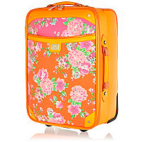 Orange floral print wheelie suitcase