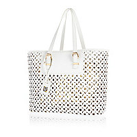 White metallic laser cut beach tote bag