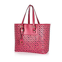 Pink metallic laser cut beach tote bag