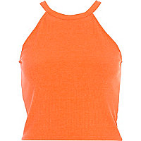Orange high neck ribbed crop top