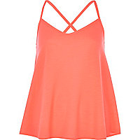 Bright coral cross back cami top