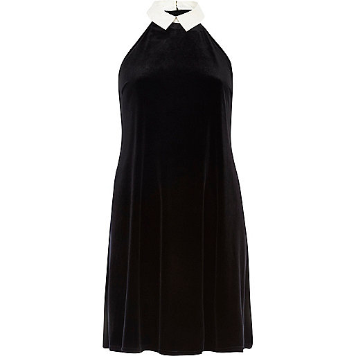 Black Chelsea Girl velvet collared dress
