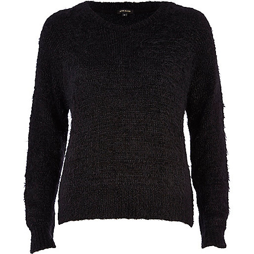Black eyelash knit jumper