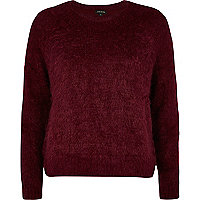 Dark red eyelash knit jumper