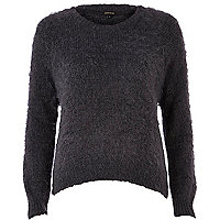 Dark grey eyelash knit jumper