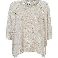 Cream boxy sequin embellished jumper