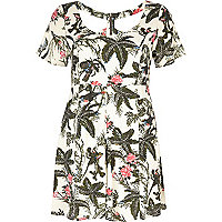White leaf print cut out smart playsuit