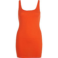 Orange scoop neck longline vest