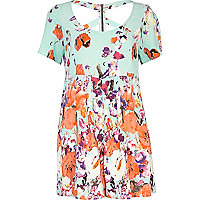 Turquoise floral print cut out playsuit