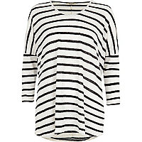Cream stripe dip hem tunic