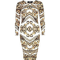 White Jaded London chain print bodycon dress