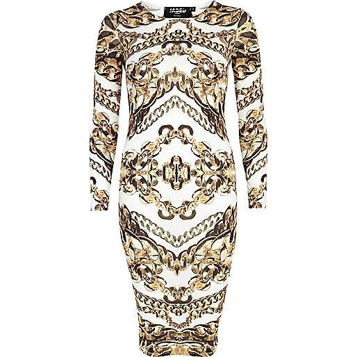 White Jaded London chain print bodycon dress