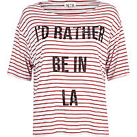 Red LA print striped boxy t-shirt