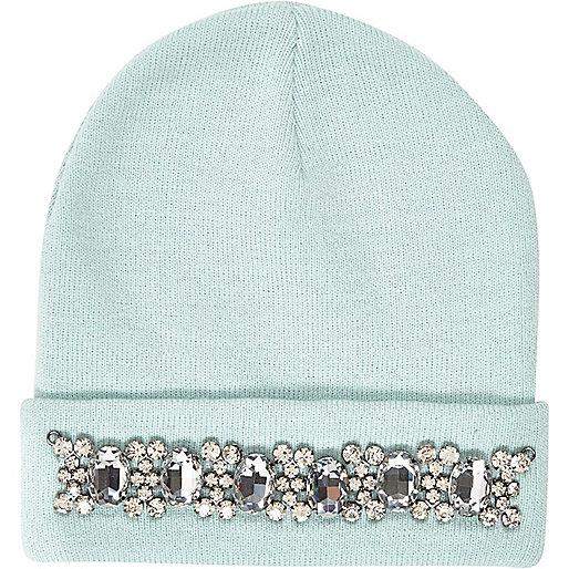 Aqua gem stone trim beanie hat