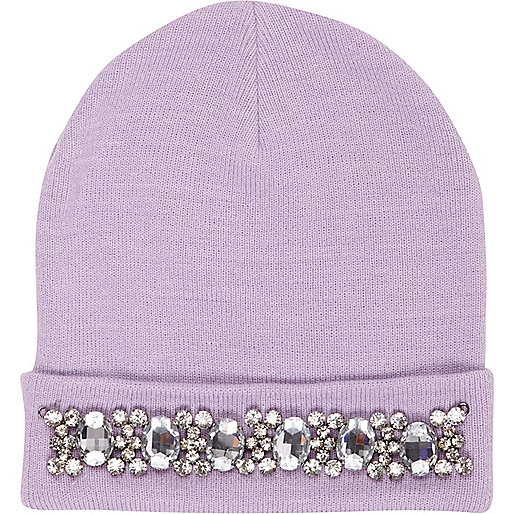 Lilac embellished beanie hat