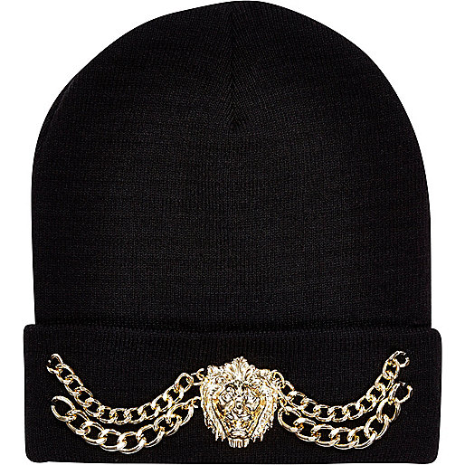Black Lion head chain trim beanie hat