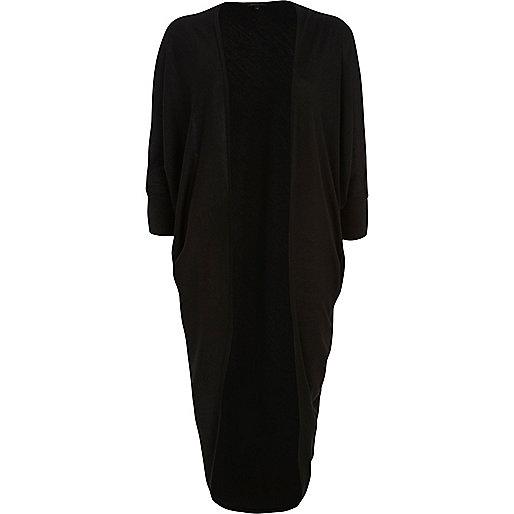 Black draped midi cardigan