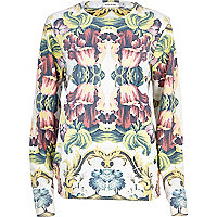 Yellow tapestry print sweatshirt