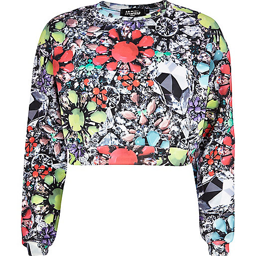 Neon Jaded London jewel print crop sweatshirt