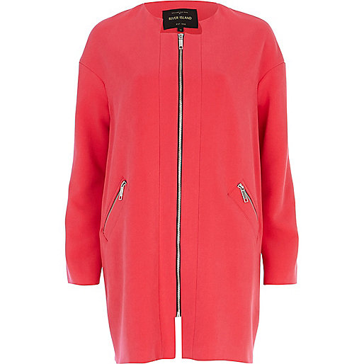 Pink collarless coat